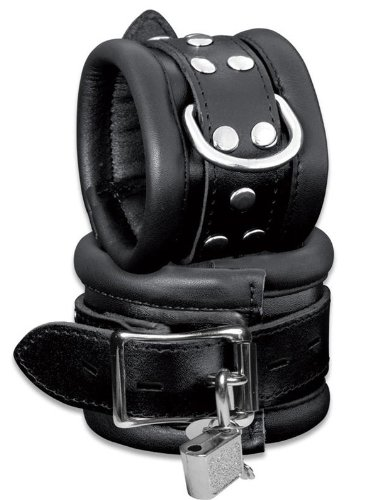 Abschließbare Bondage Leder Fuß Fesseln Fußfesseln gepolstert schwarz High Quality mit Schloss – Fußfessel